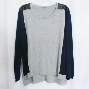 Two by Vince Camuto Faux Leather Patch Sweater XL